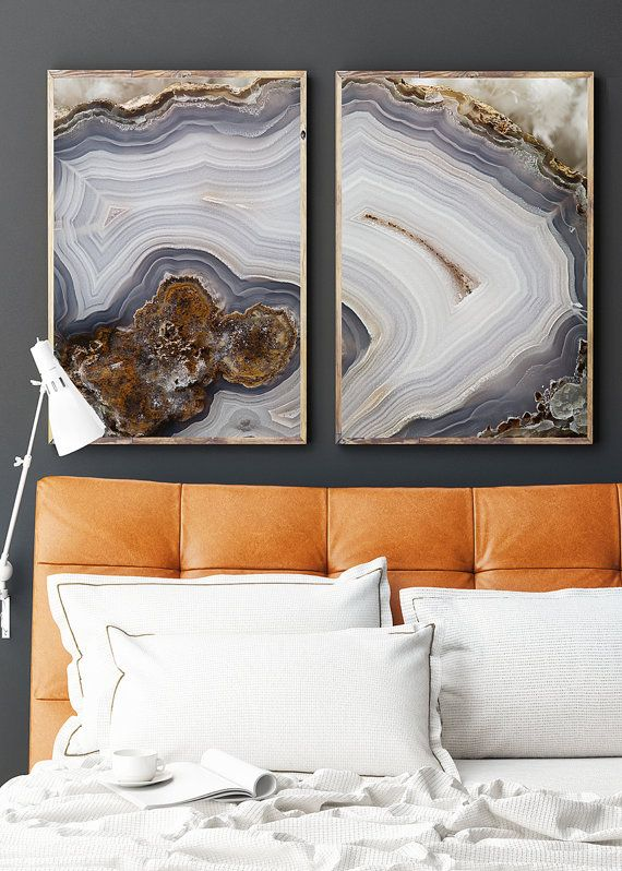 Set of 2 Agate Prints - Prints (Print #056 & 057) - Mineral Geode Agate Decor  This Listing has 3 printing options (2 fine art paper choices) and…
