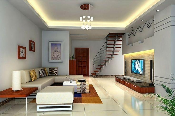 Beleuchtung im Wohnzimmer mit Licht an der Decke und über dem Lowboard