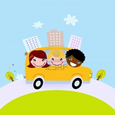 Happy children on the way to school