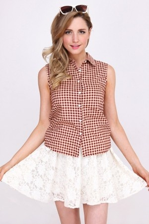 cute checked shirt in pink