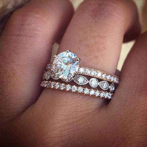 Engagement ring stacks with wedding bands you'll drool over.