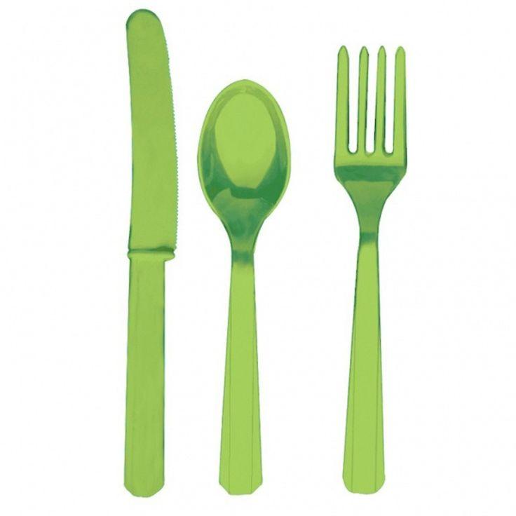 Kiwi Green Cutlery Set #monstersuniversity #monstersinc #cutlery #partysupplies
