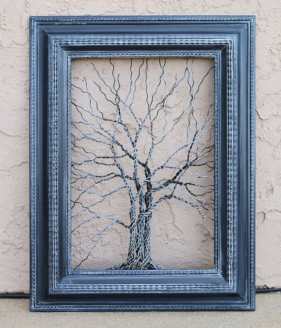 Original Unique Art Large Tree Abstract Sculpture ... Wire trees in vintage ornate shabby style salvaged black frame