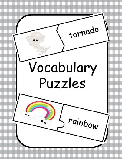 Review weather vocabulary with these puzzles. There are 12 self correcting puzzles. Students match the picture with the correct word. Student directions are included for use as an independent learning center.