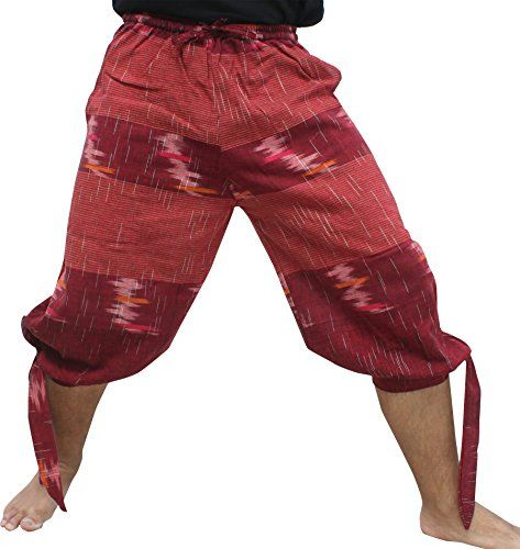 RaanPahMuang Side Tied Leg Woven Warm Chomtong Cotton Buccaneer Pirate Pants  Raan Pah Muang quality hand made Fair Trade Thai clothing brand  Thick Jomtong cotton with artistic coloured threads woven through, 100% cotton