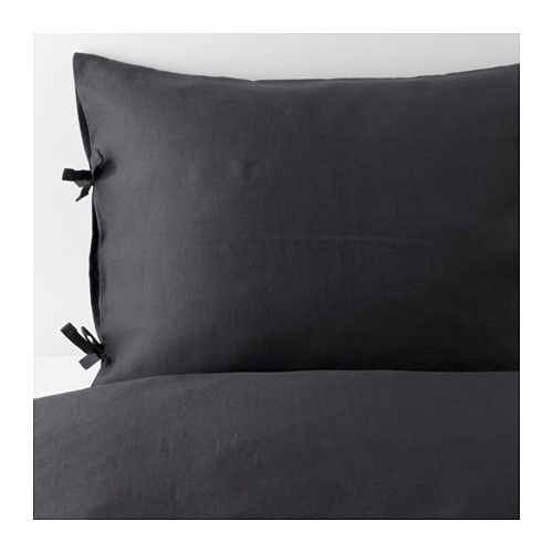 PUDERVIVA Duvet cover and pillowcase(s), dark gray dark gray Full/Queen (Double/Queen)