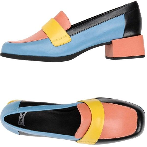 Camper Loafer ($205) ❤ liked on Polyvore featuring shoes, loafers, pastel blue, animal shoes, print shoes, genuine leather shoes, rubber sole shoes and leather loafer shoes