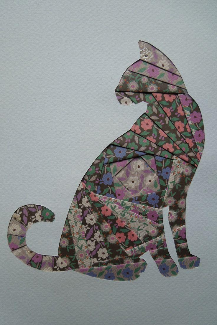 iris folding 0136 - chat en papier italien                                                                                                                                                     Plus