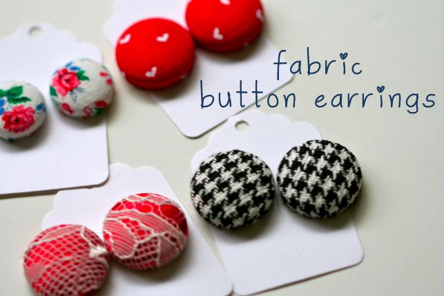 Fabric button earrings: Crafts Ideas, Diy Fabrics, Fabrics Scrap, Earrings Tutorials, Buttons Ears, Buttons Earrings, Fabrics Earrings, Diy Earrings, Fabrics Buttons