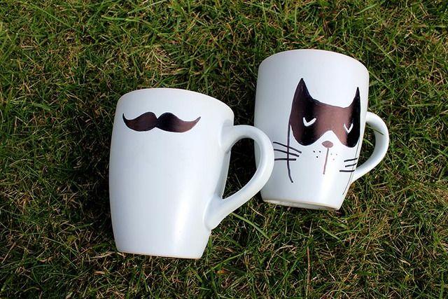 Handmade Coffee Mugs - www.beautiquegifts.co.nz Handmade Coffee Mugs - #moustache #cat #cup #coffee mug #sharpie #coffee #mom #diy