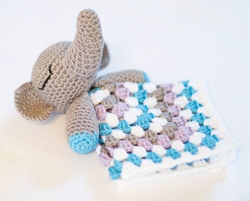 Amigurumi elephant snuggle granny square