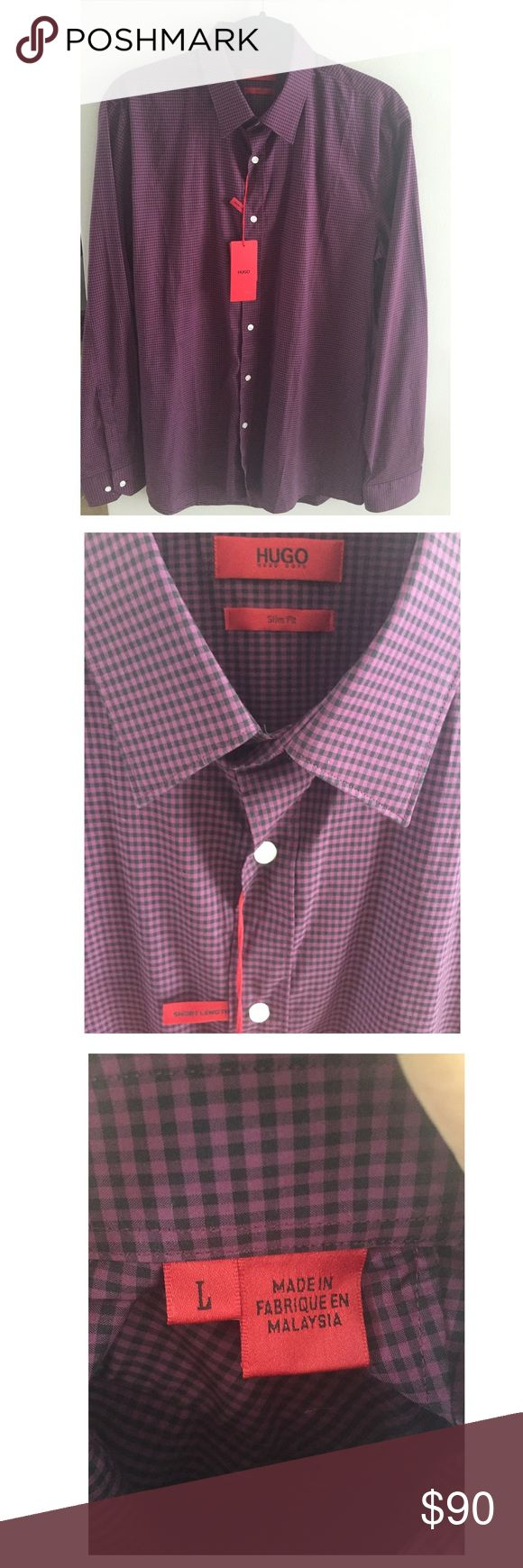 HOGO BOSS MENS SHIRT Brand new with tags...burgundy/black... Size:Large (slim FIT) (short Length) Hugo Boss Other