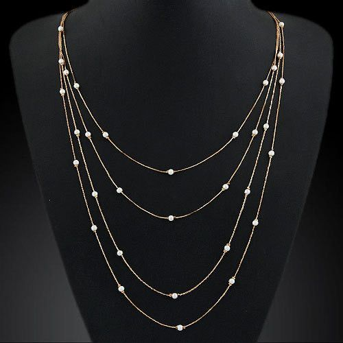New Hammered Bar Simple Double Chain Charm Simulated Pearl Necklace Beads Long Strip Pendant Necklaces Wedding Event Jewelry
