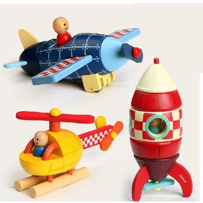 法国Janod拆装模型—飞机火箭直升机儿童木制磁性玩具动手益智5