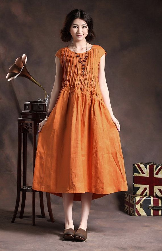 Ruffle Linen Dress in Orange / Long linen sundress / Loose Tunic Dress / Asymmetrical Top, XL,XXL, plus size A8005