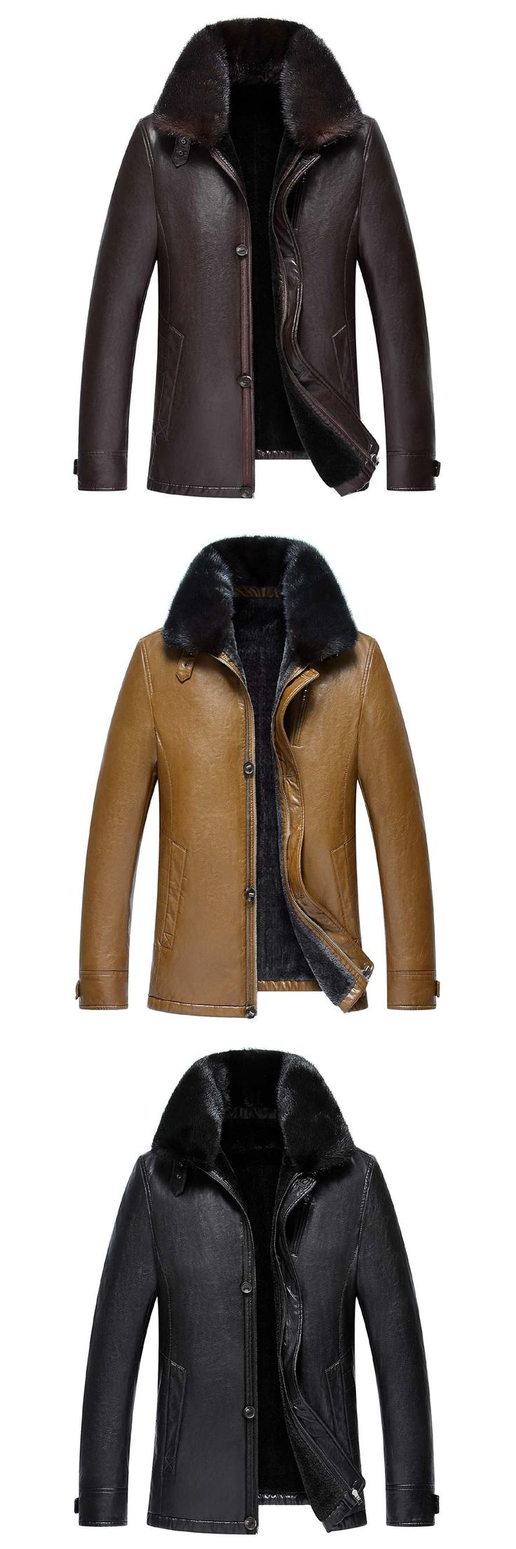 New Winter Warm -20 Degree Russia Men PU Leather Coats Fur Inside Snow Jackets with really fur collar