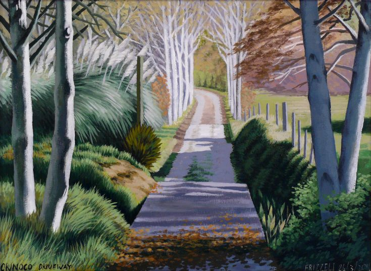Dick Frizzell, 2014, Orinoco Driveway, acrylic on canvas, 520x670mm