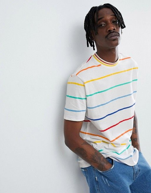 9542c7919e DESIGN relaxed t-shirt in rainbow stripe in 2019 | asos men | Shoes ...
