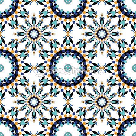 Lindo padrão sem emenda de azulejos marroquinos azuis, ornamentos. Pode ser usado para wallpaper, preenchimentos de padrão de fundo da página web, texturas de superfície — Ilustração de Stock #89856202