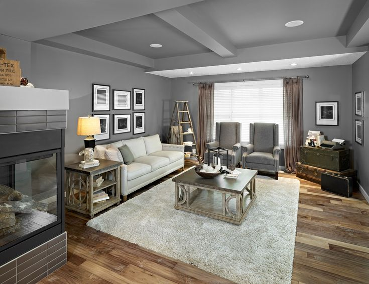 Handscraped Laminate Flooring Living Room Eclectic with Corner Fireplace Decorative Ladder Decorative Trunks Gray