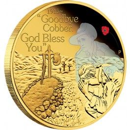 2015 #ANZAC #Spirit #Goodbye #Cobber 1/4oz #Gold Proof #Coin. By the end of the Great War more than 416,000 Australian men had enlisted from a population of fewer than 5 million, representing approximately 38.7% of the total male population aged between 18 and 44.