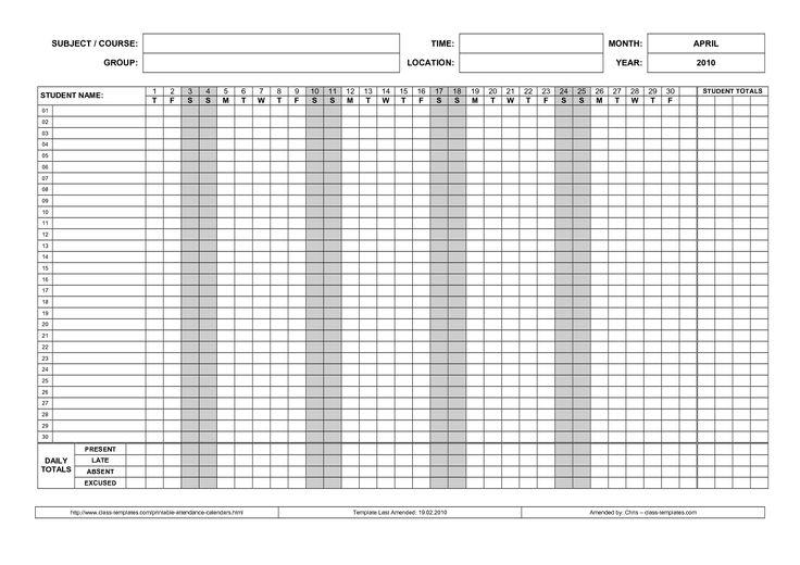 Printable Attendance Calendar 2016 Printable Attendance