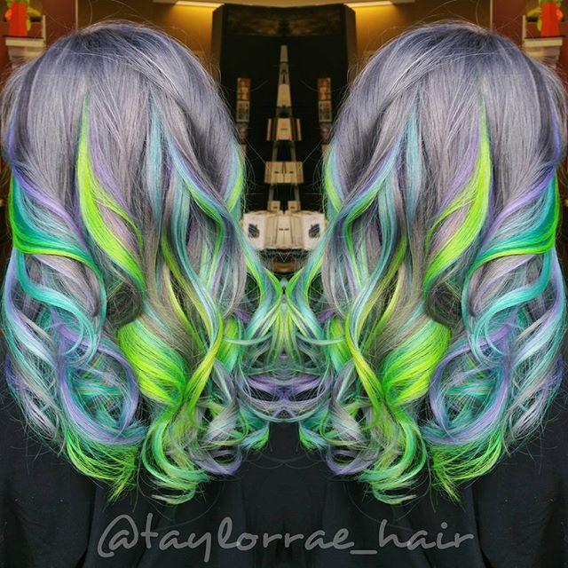 Rainbow hair Mermaid Hair Unicorn hair by Taylor Rae Hair painting Vivid hair color hotonbeauty.com