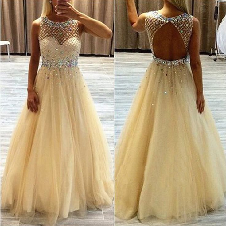 2017 Scoop Neckline Long A-line Rhinestone Beige Tulle Prom Dresses, PD0249