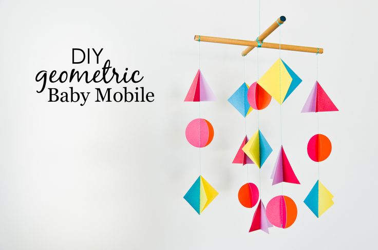 DIY Geometric Baby Mobile - love this look and how it can be customized to any color or shape!