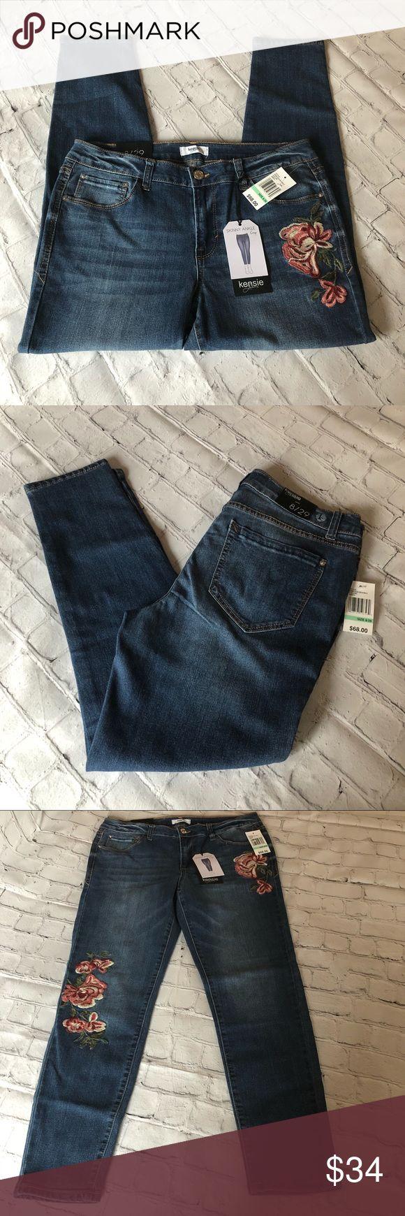NEW Kensie Jeans Embroidered Skinny Ankle Jeans 8 NWT Kensie Jeans Stretchy Floral Embroidered Skinny  Size 8/29 measurements in pictures Kensie Pants Skinny