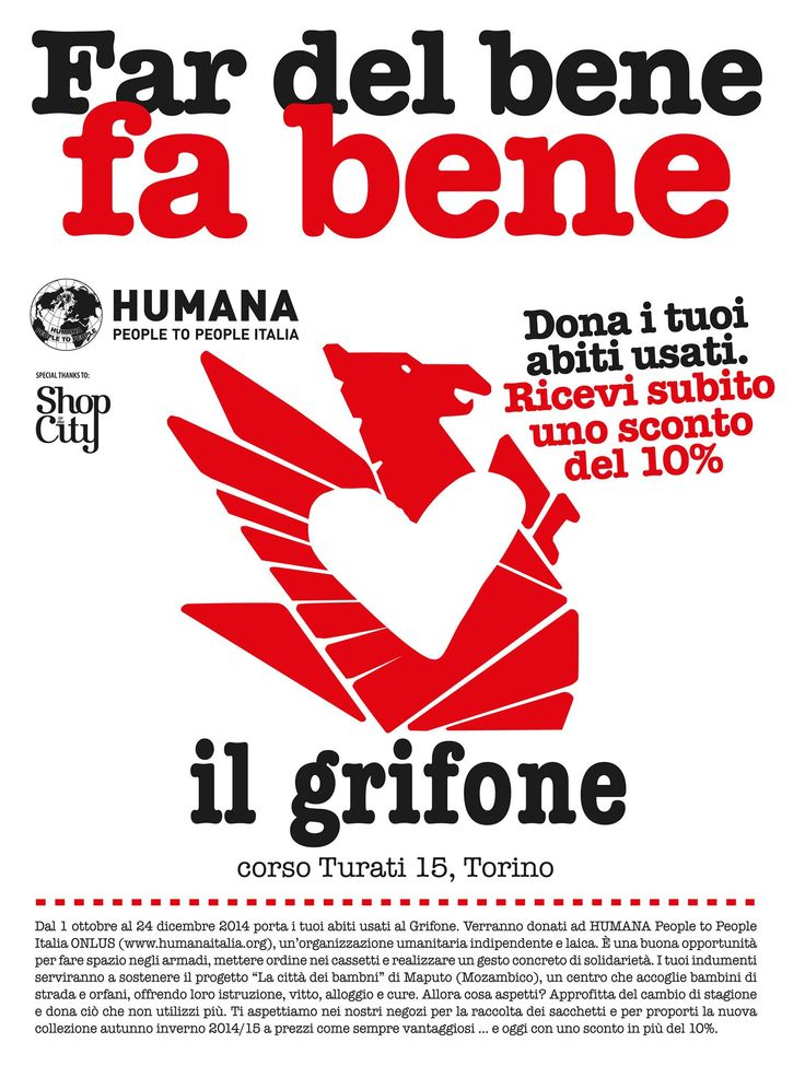 Dal 1 ottobre al 24 dicembre 2014 porta i tuoi abiti usati nel negozio Il  Grifone