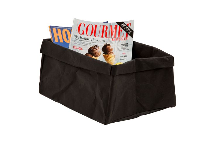 Inscribed black washable paper storage boxes