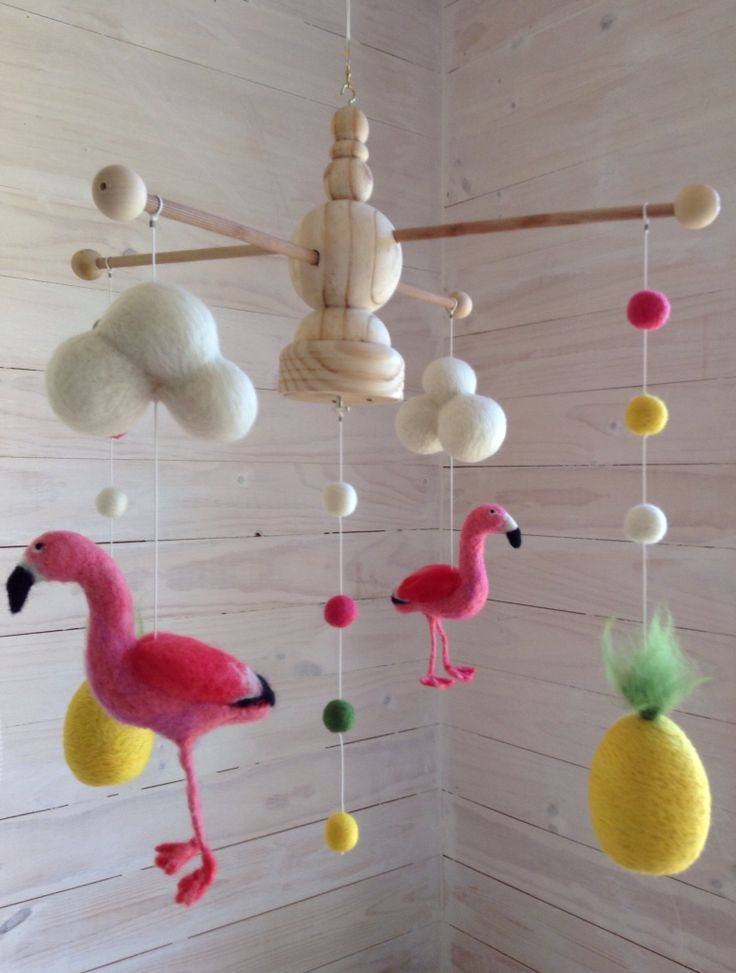 Needle felting mobile for kids with flamencos by Coco & Co