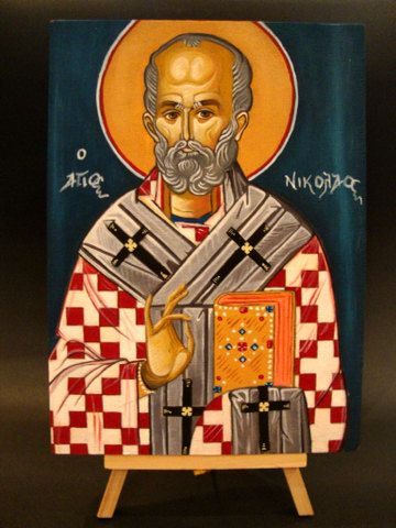 Saint Nicolas - Hand Painted Greek Religious Icon On Wood 18x25cm 7x9.75 inches FREE SHIPPING on Etsy, 95,00 €