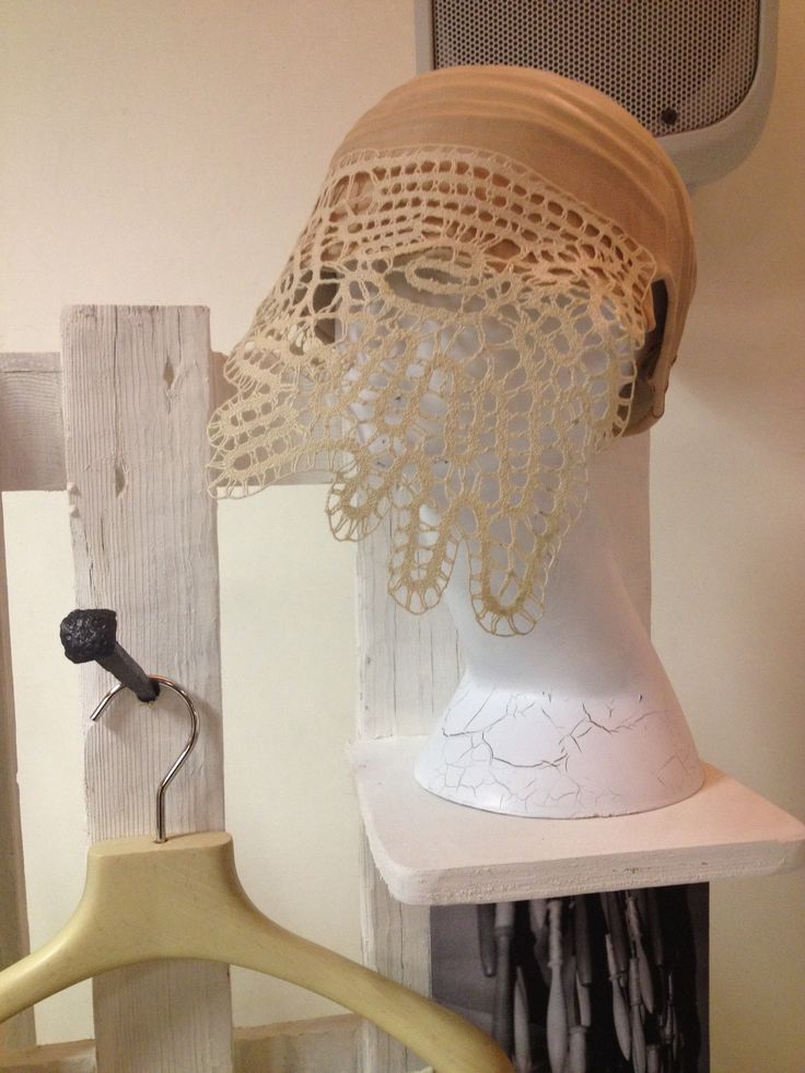 Hat: leather and lace