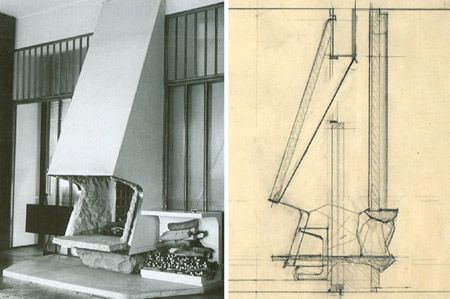 Carlo Mollino, camino a doppio affaccio con base e apertura in pietra e legnaia in marmo, Casa F. e G. Minola, 1945. Vista e sezione.