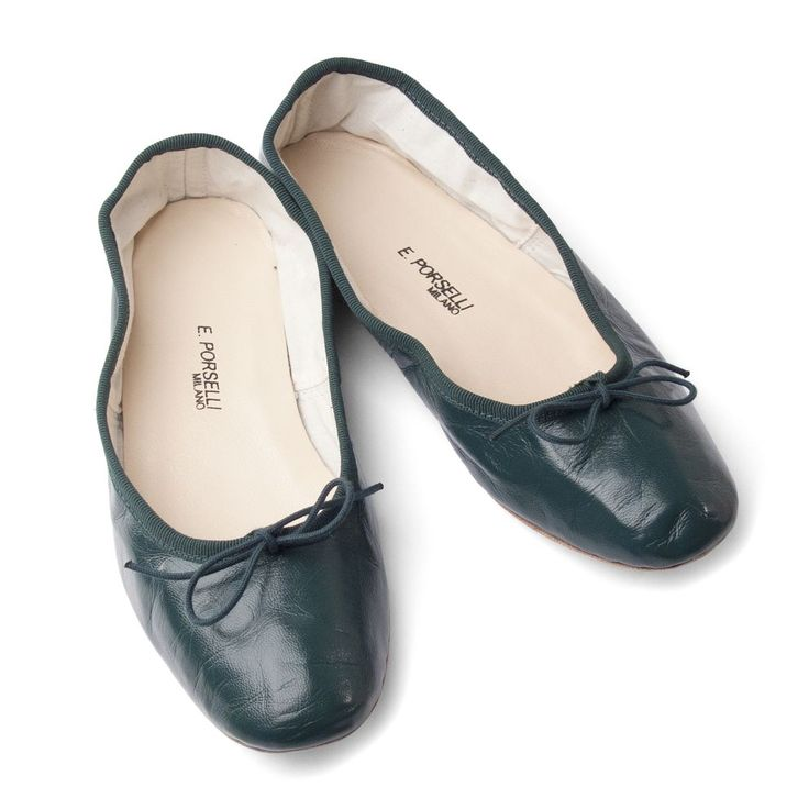 Forest Green Leather Ballet Flats from Porselli | Hand made especially for Pierotucci