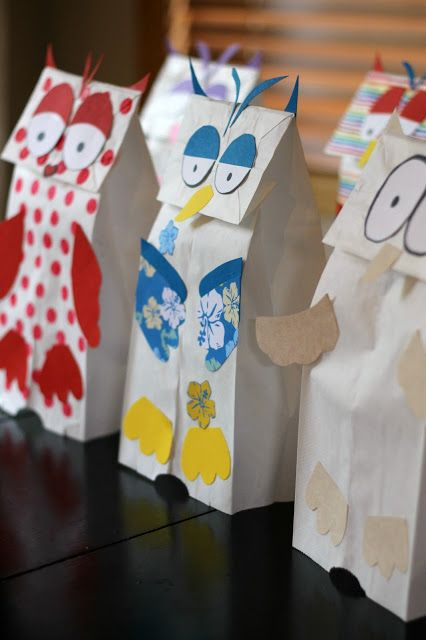 For more pins like this visit:  http://pinterest.com/kindkids/crafting-creativity-charlotte-s- clips/Book Activity: Paper Bag Owl Puppets