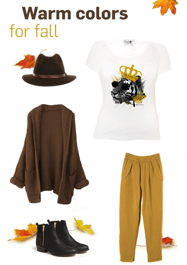 Warm colors for fall | 'The King' top available on our website!  #outfit #inspo #fall #yellow #inspiration #top #cardigan #hat #brown #warm #colors #print #design
