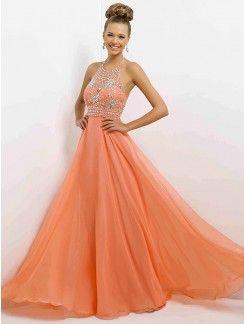 A-Line/Princess Halter Sleeveless Beading Chiffon Floor-Length Dresses