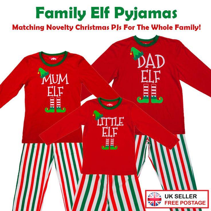 Christmas Red Elf Pyjamas Matching PJs Family Mum/Dad/Little/Pet Elf Fancy Dress