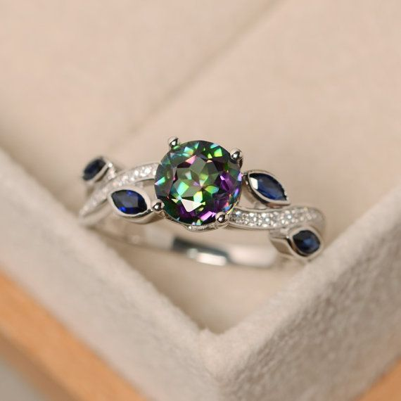 Mystic topaz ring, rainbow topaz, sterling silver, engagement ring                                                                                                                                                                                 More