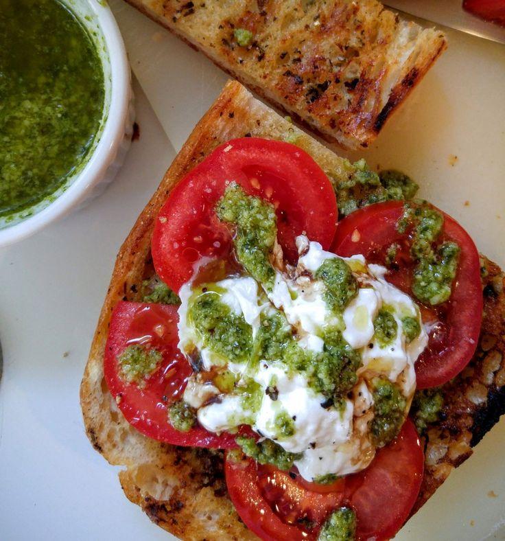 Tomato and Pesto Bruschetta with Burrata