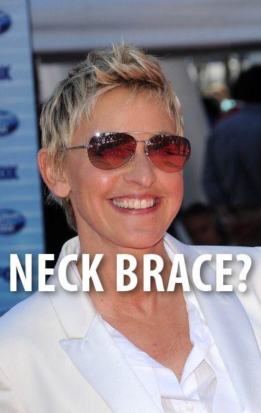 Ellen pranked her audience when she came out with a neck brace for April Fool's Day. http://www.recapo.com/ellen-degeneres-show/ellen-jokes/ellen-neck-brace-april-fools-joke-ellen-underwear-trojan-commercial/