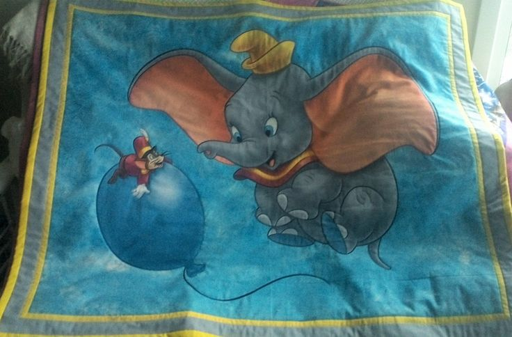 Toddlers Quilt, BQ014, Dumbo the elephant,  100% cotton, handmade. by TheQuiltedCheese on Etsy