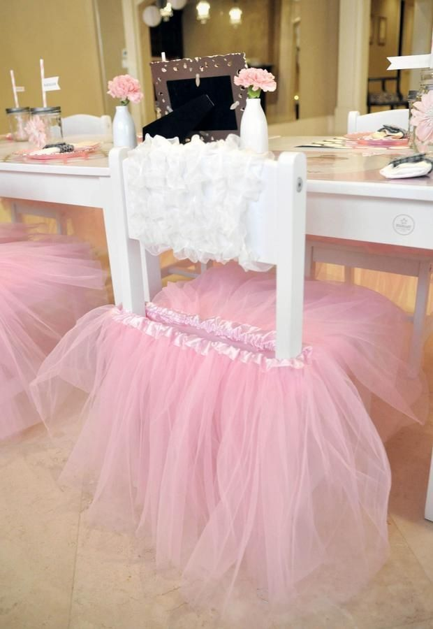 White chairs with TUTUs perfect for a ballerina themed birthday party little girls -- oh my goodness -- I would have so done this for my girls when they were little!