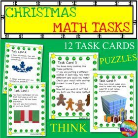 Grade / Year Level :: Primary Education :: Year 2 :: CHRISTMAS MATH Activity Task Cards MATH STATIONS Thinking Activities