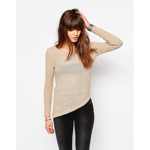Only Sweater With Asymmetric Hem ($30) ❤ liked on Polyvore featuring tops, sweaters, beige, bandeau top, white bandeau top, lightweight sweaters, only tops and white sweater