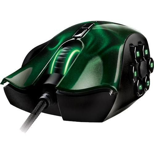 Razer - Naga Hex Expert MOBA/Action-RPG Laser Gaming Mouse - Black/Green - Alternate View 1