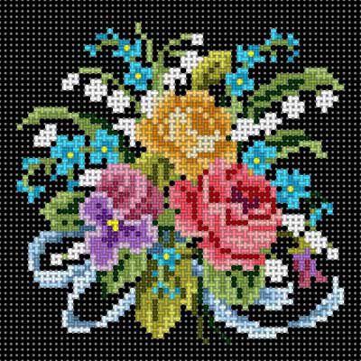 Floral Bouquet Blk Bkg
